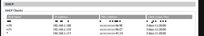 DHCP listing of a DD-WRT router showing hostnames RC70 and RC71 as 192.168.1.180 and 192.168.1.133